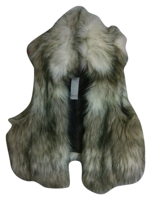 Item - White Beige Brown and Black Faux Fur Collar Vest Size 10 (M)
