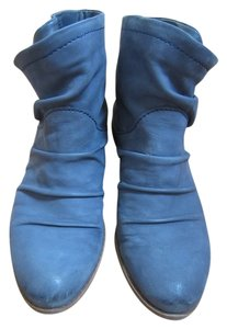 Fergie Blue Sold Out Chunky Heel Navy Denim suede Boots