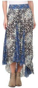 Free People Maxi Pleated Rayon Print Maxi Skirt Ivory