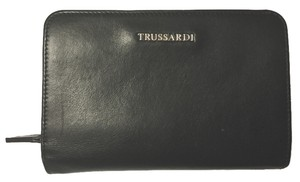 Trussardi TRUSSARDI CALF LEATHER ZIP AROUND COIN SNAP CASE EURO WALLET