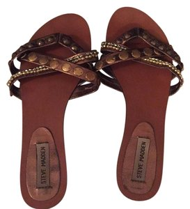 Steve Madden Brown with gold and bronze accents Sandals