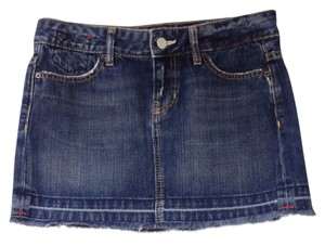 Gap Jean Mini Limited Edition Size 4 4 Short Frayed 1969 Mini Skirt Blue