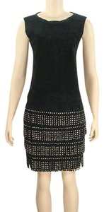 Alberta Ferretti Suede Studded Fringe Hem Evening Party Rocker Dress