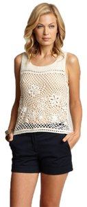 Anthropologie Crochet Open Knit Top IVORY