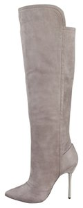 B Brian Atwood Suede High Heel High Heel Pointed Toe Grey Boots
