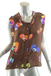 Marc Jacobs Silk Button Down Top Brown w/Multi Color Flowers
