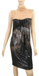 Alberta Ferretti Sequin Sheer Embroidered Empire Waist Floral Metallic Dress