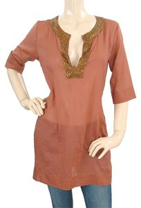 Alberta Ferretti short dress Rust Sheer Copper Metallic Tunic Beaded on Tradesy