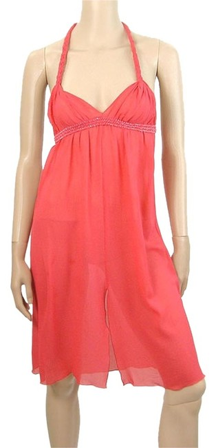 Alberta Ferretti short dress Coral Sheer Braided Halter Silk on Tradesy