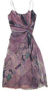 Alberta Ferretti Sheer Silk Flowy Print Spring Dress