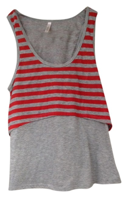 Rue 21 Grey Striped Racer-back A-line Juniors Womens T Shirt Grey Red