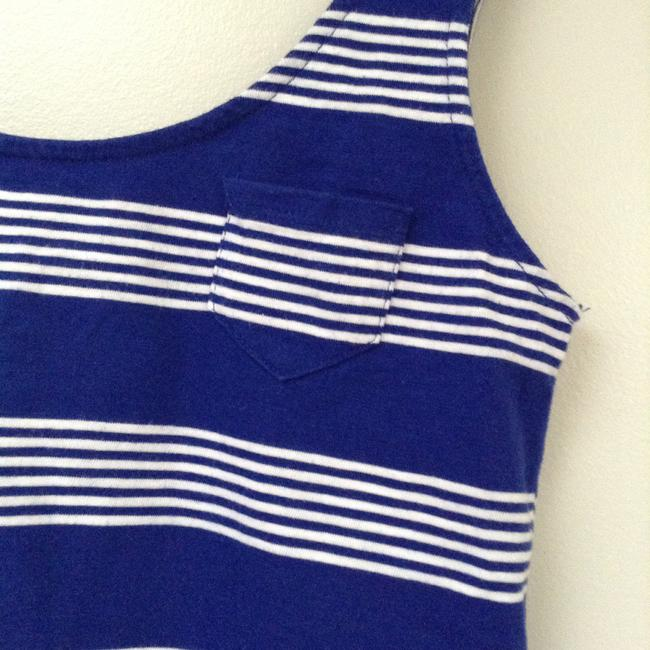 Mossimo Xs Striped Rounded Bottom Pocket Summer Royal Target Top Blue White