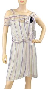 Alberta Ferretti Sheer Bold Stripe Striped Sequin Applique Embellished Chiffon Dress