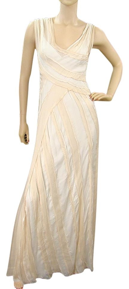 Alberta Ferretti Ivory And Light Pink Silk Evening Gown Long Formal ...