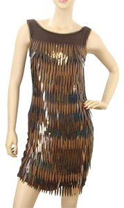 Alberta Ferretti Palladium Silk Frayed Metallic Dress