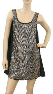 Alberta Ferretti Beaded Metallic Sequin Pleated A-line Dress