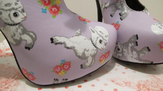 Iron Fist Suicide Girls Harajuku Girl Platform Heels Bows Lavender with Lambs Boots