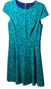 Cynthia Steffe Lace Turquoise Fit And Flare Dress
