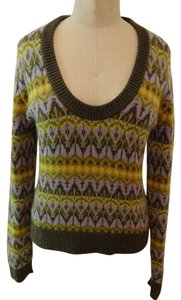 Michael Kors Fair Isle Pattern 100% Cashmere Wool Soft Sweater
