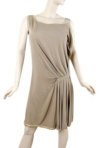 Alberta Ferretti Pleated Gold Crochet Drape Draped Metallic Rayon Dress