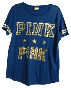 Victoria's Secret Super Soft So You T Shirt Blue and Silver Bling