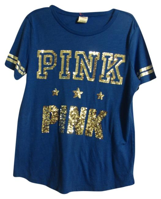 "Item - Blue and Silver Bling L Bargain ""Love Pink"" Large Sequin Tank Green White Tee Shirt Size 14 (L)"