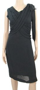 Alberta Ferretti Silk Sheath Sheer Polished Drape Draped Crisscross Strap Satin V-neck Sleeveless Dress