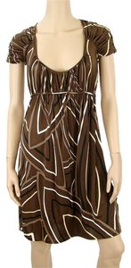 Allegra Hicks short dress Brown Print Spring Silk Empire Waist Bold Stripe Striped on Tradesy