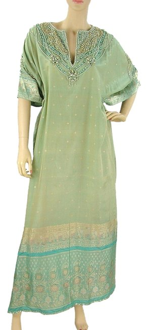 Badgley Mischka V-neck Oversized Silk Caftan Tunic Crystal Beaded Jacquard Embroidered Dress
