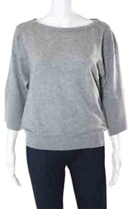 Evelyn Grace Evelyn Grace: 100% Cashmere; Sweater: Gray; Boat Neck; Slim Fit; Office Ware; Holiday 3/4 Sleeve; Sweater