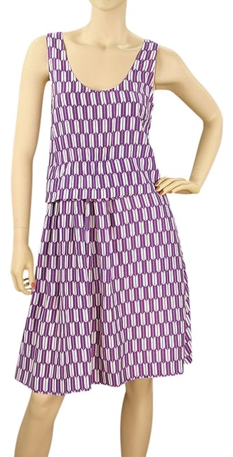Purple, White Maxi Dress by Basso & Brooke A-line Print Spring Summer Scoop Back Pleated Drape Draped Eclectic Silk