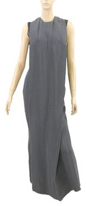Calvin Klein Gown Crepe Sleeveless Sheer Pleated Racer-back Rayon Silk Dress