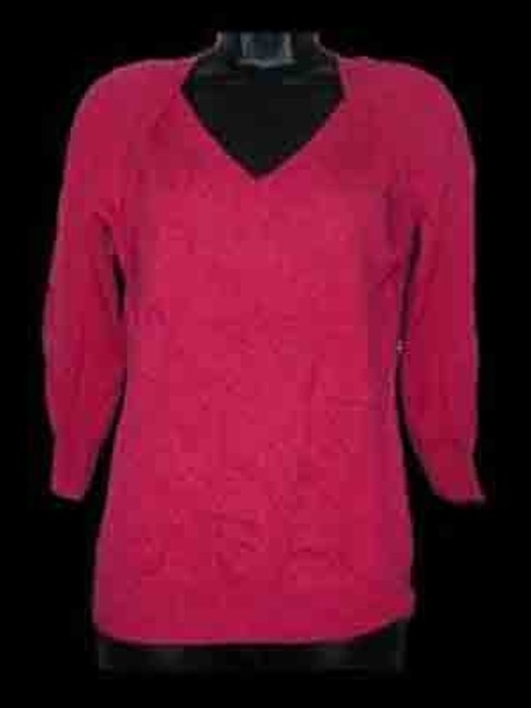 Jones New York Collection Cashmere Woman V-neck 3/4 Sleeve; Office Wear; Casual Wear; Sweater; Sweater; Tunic Image 1