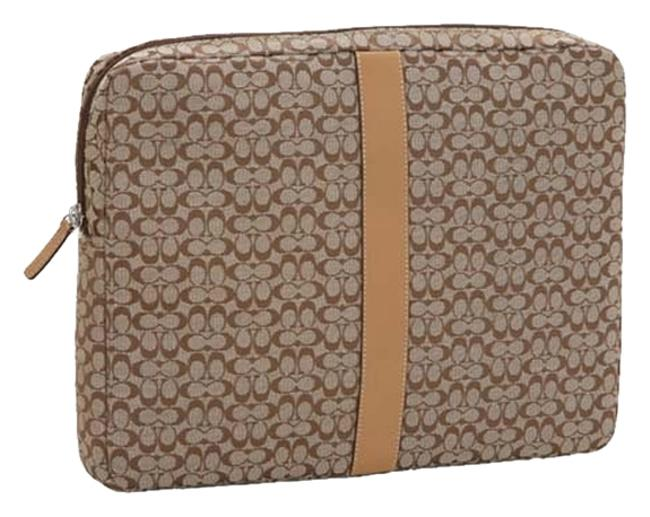 Item - Signature Sleeve Case Brown / Khaki Material with Leather Trim Laptop Bag