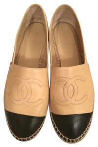Chanel Black Beige Flats