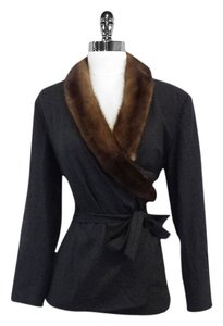 Max Mara Grey Wrap Mink Collar Collar Jacket