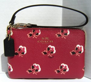 Coach Bramble Rose Floral Corner Zip L Zip Wallet Phone Coated Canvas Leather 53430 New Wristlet in Berry, Chocolate Brown
