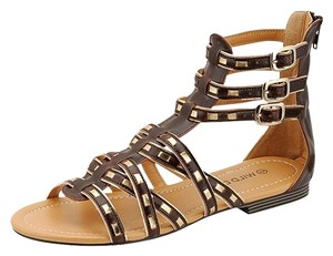 Wild Diva Brown and Gold Sandals