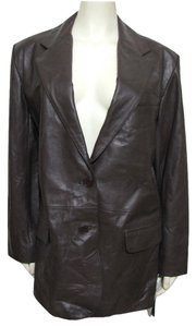 Excelled New Nwt Genuine Leather Coat 100% 14 T 14 Large L Tall Buttoned Chocolate brown Leather Jacket