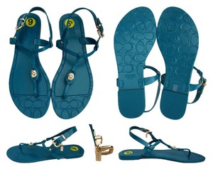 Coach Signature C Shiny Jelly Thong Teal, Blue Sandals