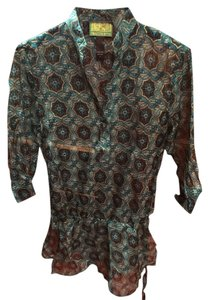 Tracy Porter Sheer Tracy Top Turquoise/Gold/Blue