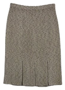 St. John Tan Pleated Knit Skirt