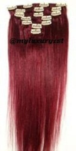 MyLuxury1st Clip In Remy Human Hair Extensions 70g 7 Pieces Red Wine 99j