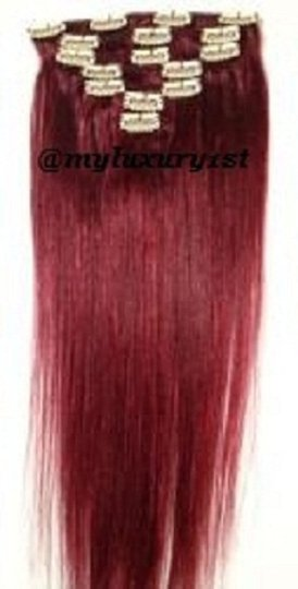 MyLuxury1st 99j Red Wine Clip In Remy Human Extensions 70g 7 Pieces Hair Accessories