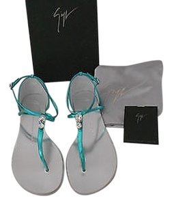 Giuseppe Zanotti Swarovski Crystals Metallic Leather Made In Italy Teal Sandals