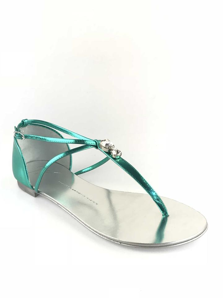 2dc0658a32e785 Giuseppe Zanotti Swarovski Crystals Metallic Leather Made In Italy Teal  Sandals Image 0 ...