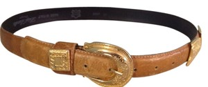Other Vintage Luigi Lanatta Italian Leather Ostrich Belt