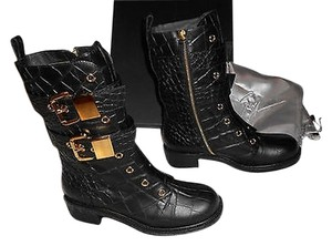 Giuseppe Zanotti I47064 Crocodile Embossed Leather Black Boots