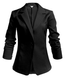 Meaneor Women's Long Sleeve Peaked Collar Cropped Smart Blazer