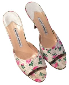 Manolo Blahnik White and Pink Mules